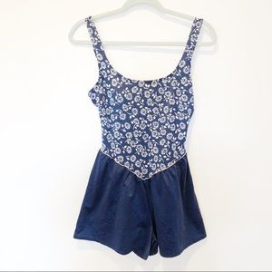 Vintage Floral Shorts Swimsuit Sz8
